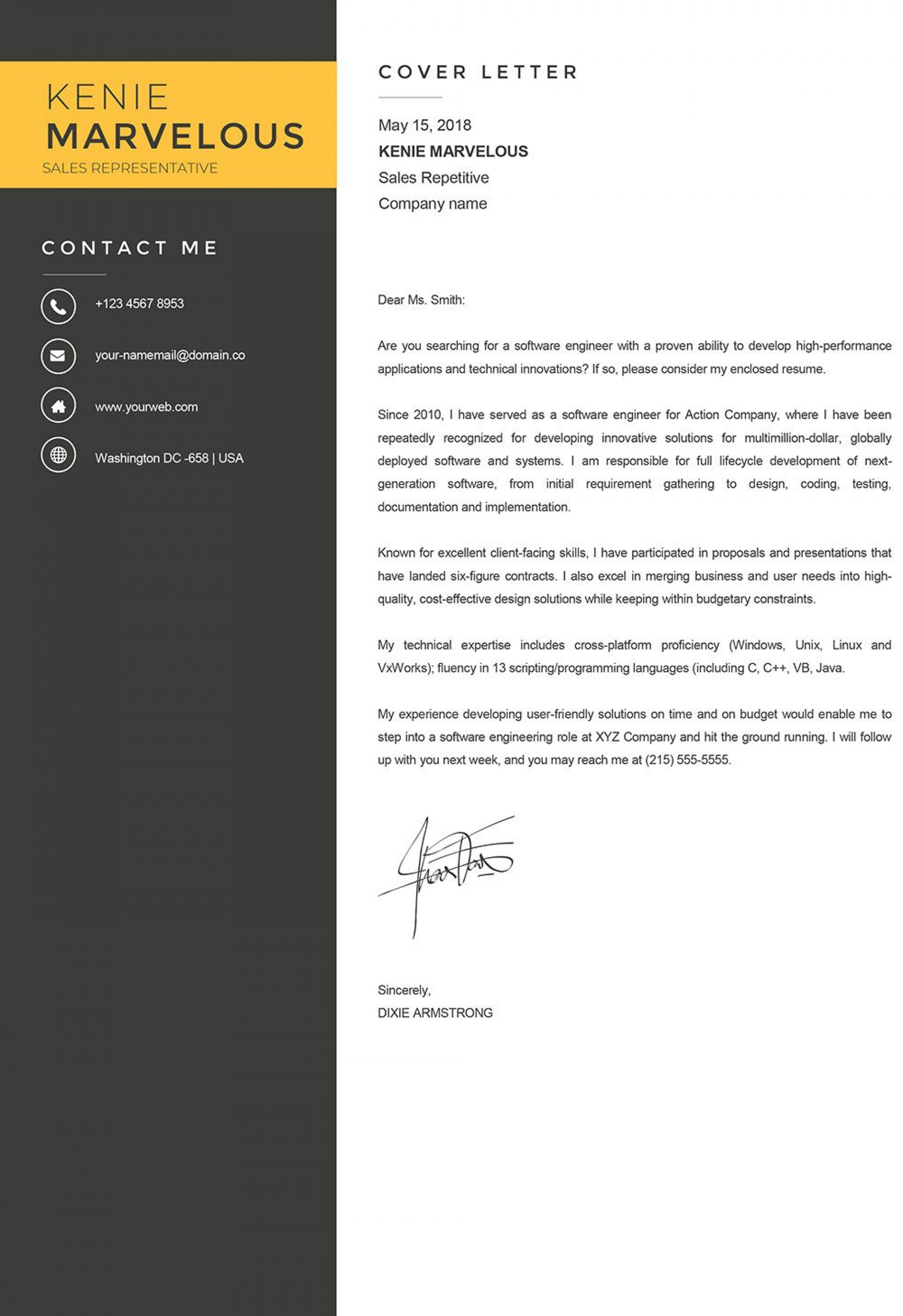 008 Simple Modern Cover Letter Example High Resolution  2019 Sample1920