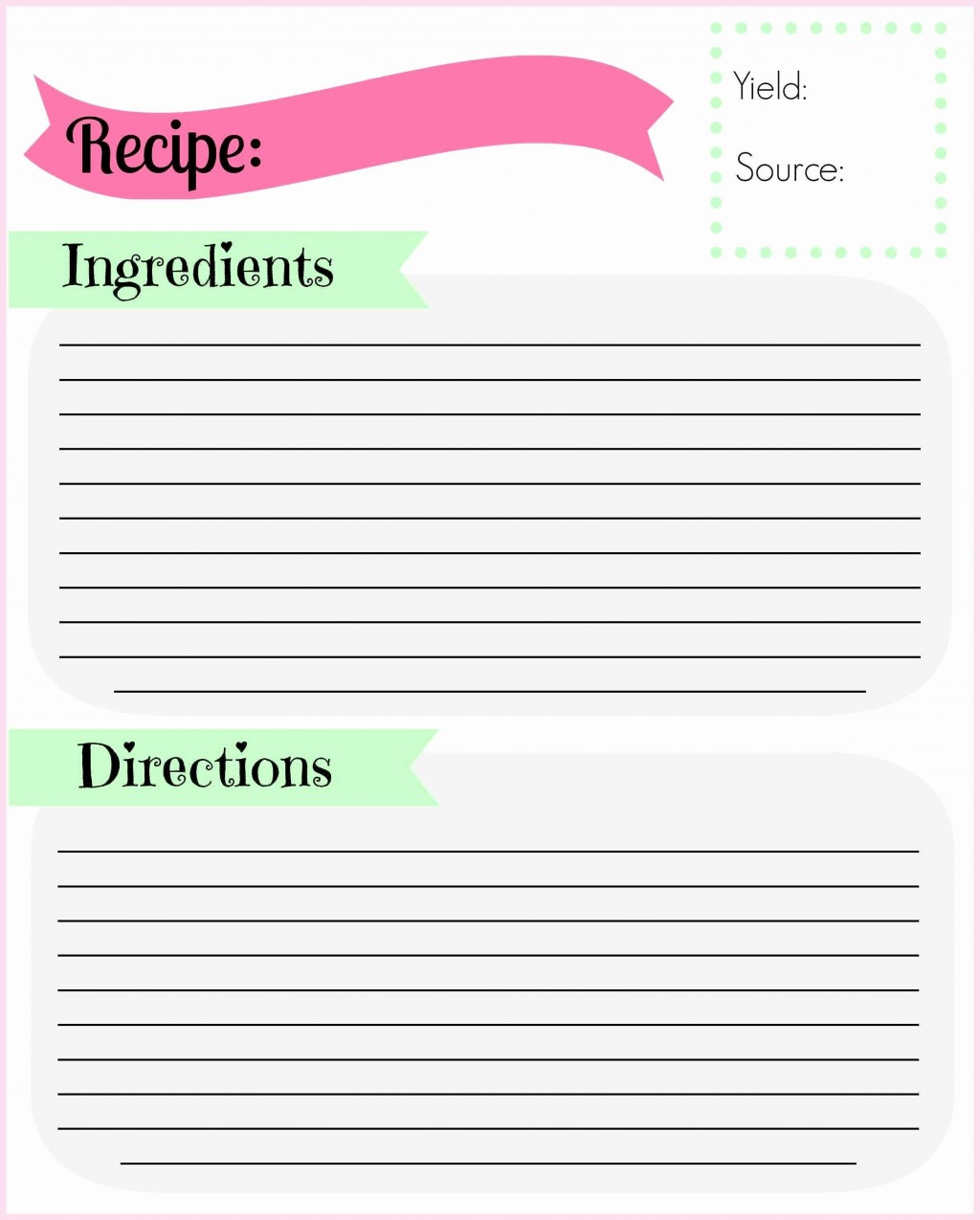 008 Simple M Word Recipe Template Design  Microsoft Card 2010 Full PageLarge