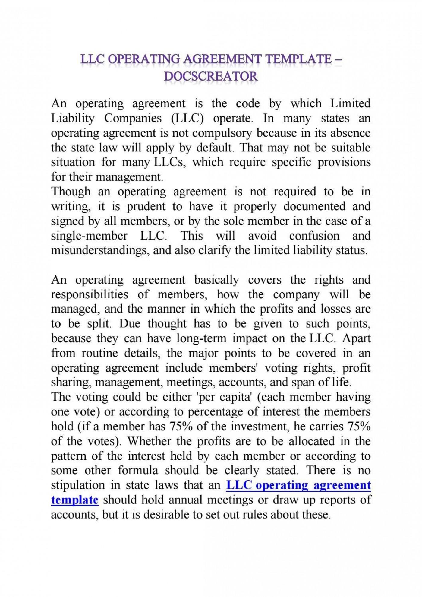 008 Simple Operation Agreement Llc Template Example  Operating Florida Indiana Single Member California1400