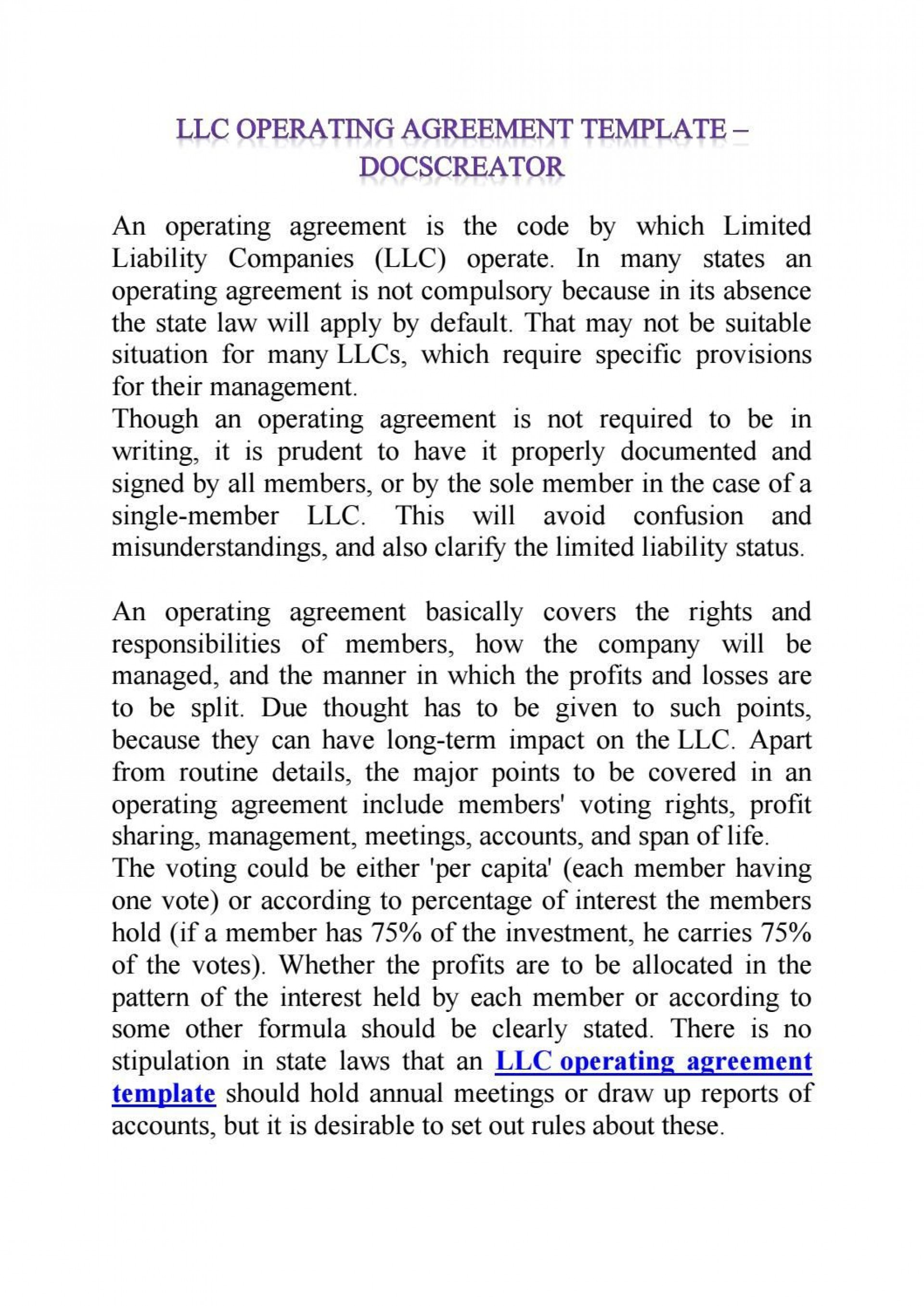 008 Simple Operation Agreement Llc Template Example  Operating Florida Indiana Single Member California1920