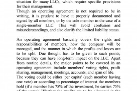 008 Simple Operation Agreement Llc Template Example  Operating Florida Indiana Single Member California