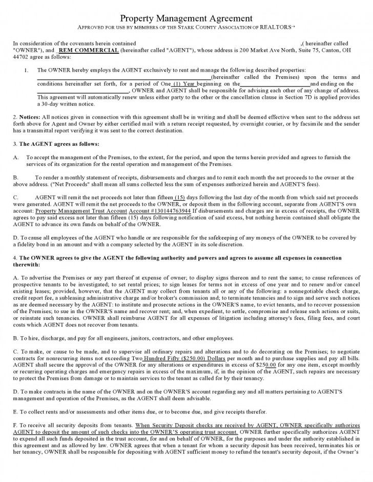 008 Simple Property Management Contract Sample High Resolution  Agreement Template Pdf Company Free Uk728