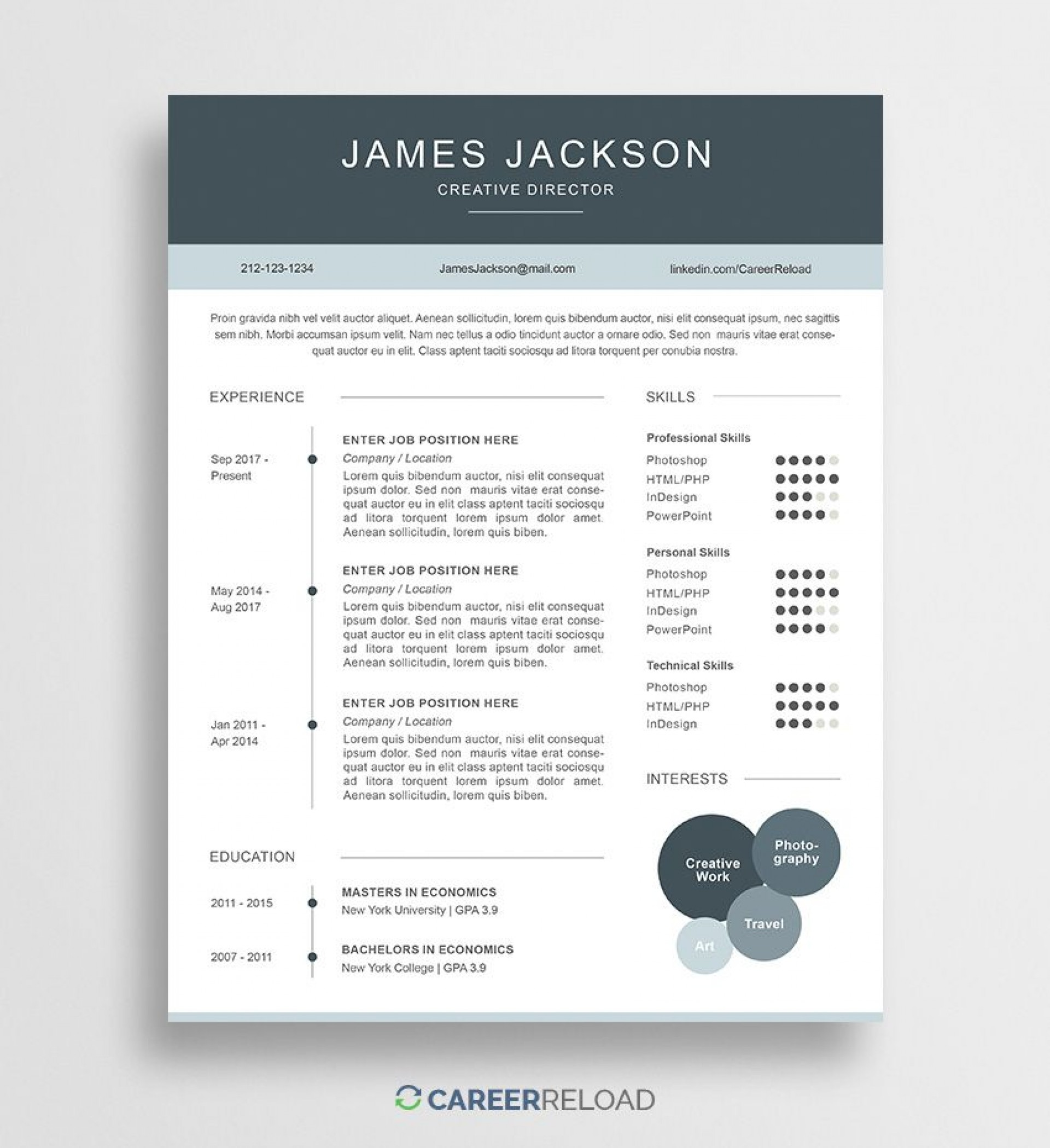 008 Simple Psd Resume Template Free Download Picture  Graphic Designer Creative Cv1920