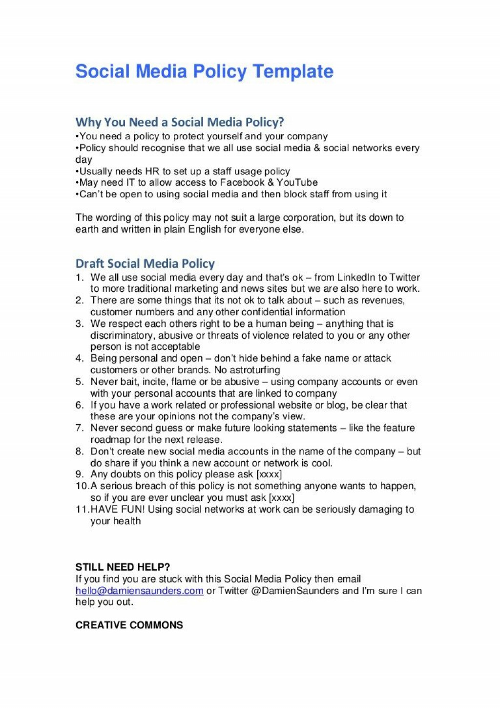 008 Simple Social Media Policie Template Example  Policy For Busines Nonprofit Australia SmallLarge