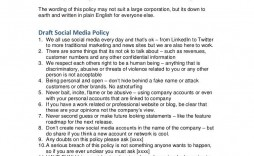 008 Simple Social Media Policie Template Example  Policy For Busines Nonprofit Australia Small