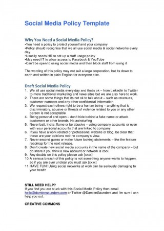 008 Simple Social Media Policie Template Example  Policy Australia For Small Busines320
