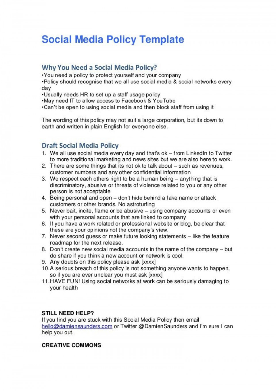 008 Simple Social Media Policie Template Example  Policy Australia For Small Busines960