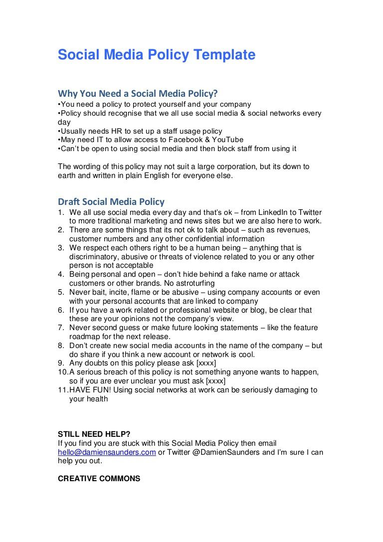 008 Simple Social Media Policie Template Example  Policy For Small Busines Australia Employee Uk CounselorFull