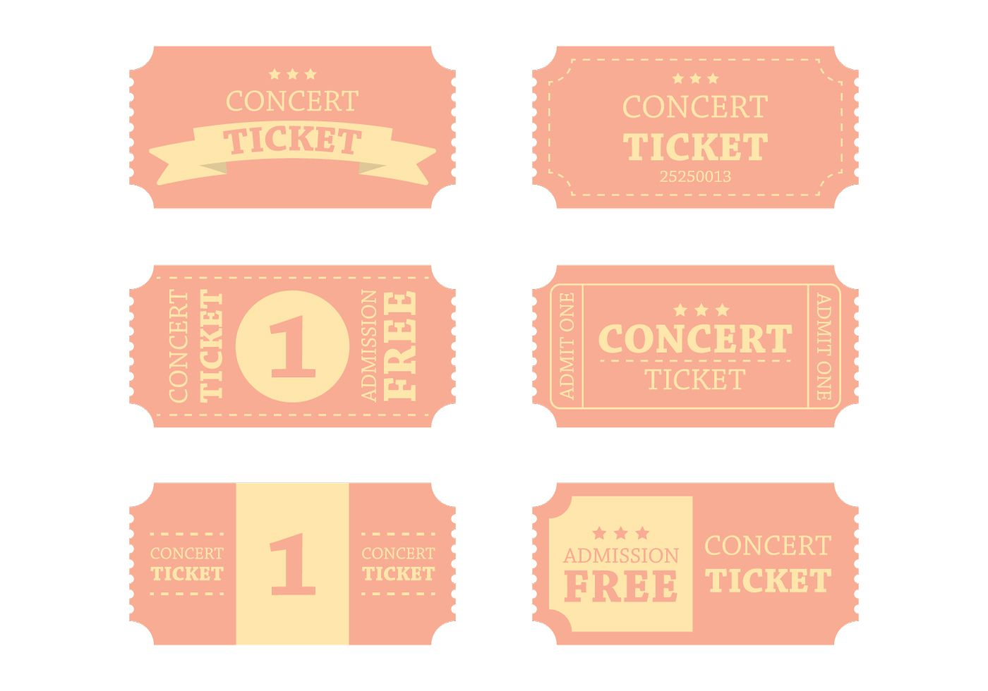 008 Simple Vintage Concert Ticket Template Free Download High Definition Full