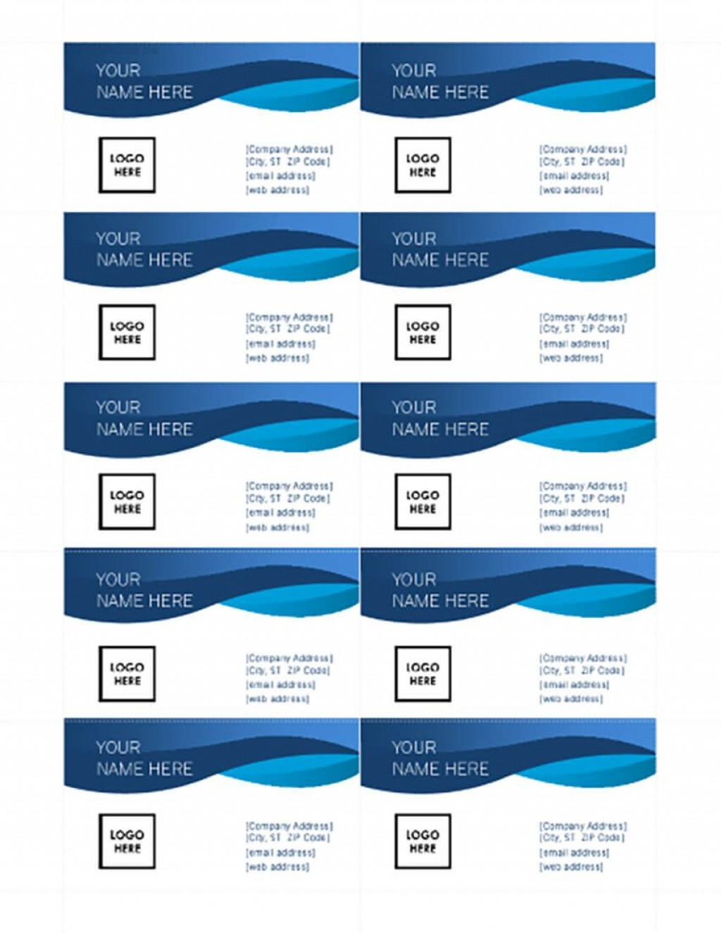 008 Singular Busines Card Template Microsoft Word 2010 Photo Large