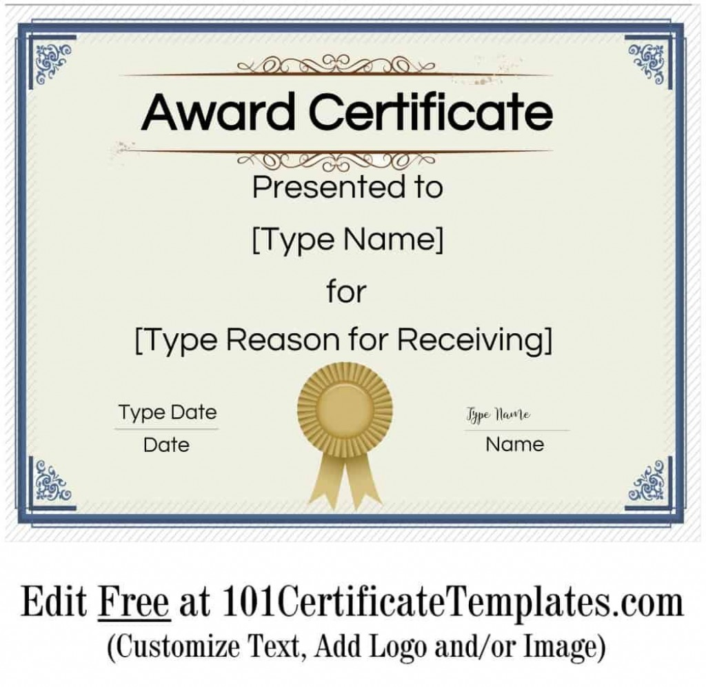 008 Singular Certificate Of Achievement Template Free Highest Quality  Award Download WordLarge