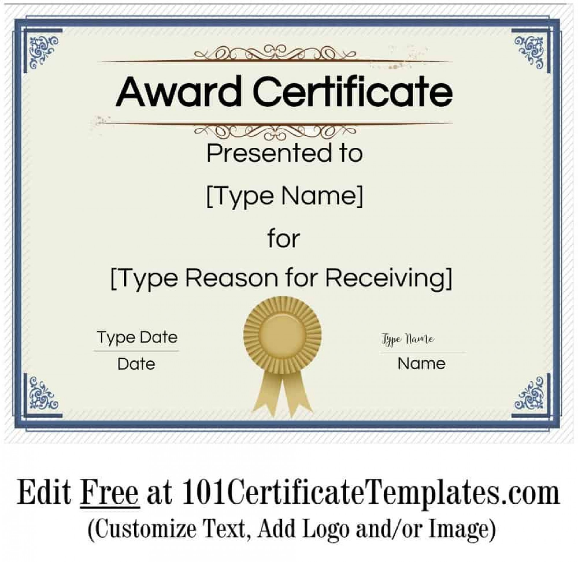 008 Singular Certificate Of Achievement Template Free Highest Quality  Award Download Word1920