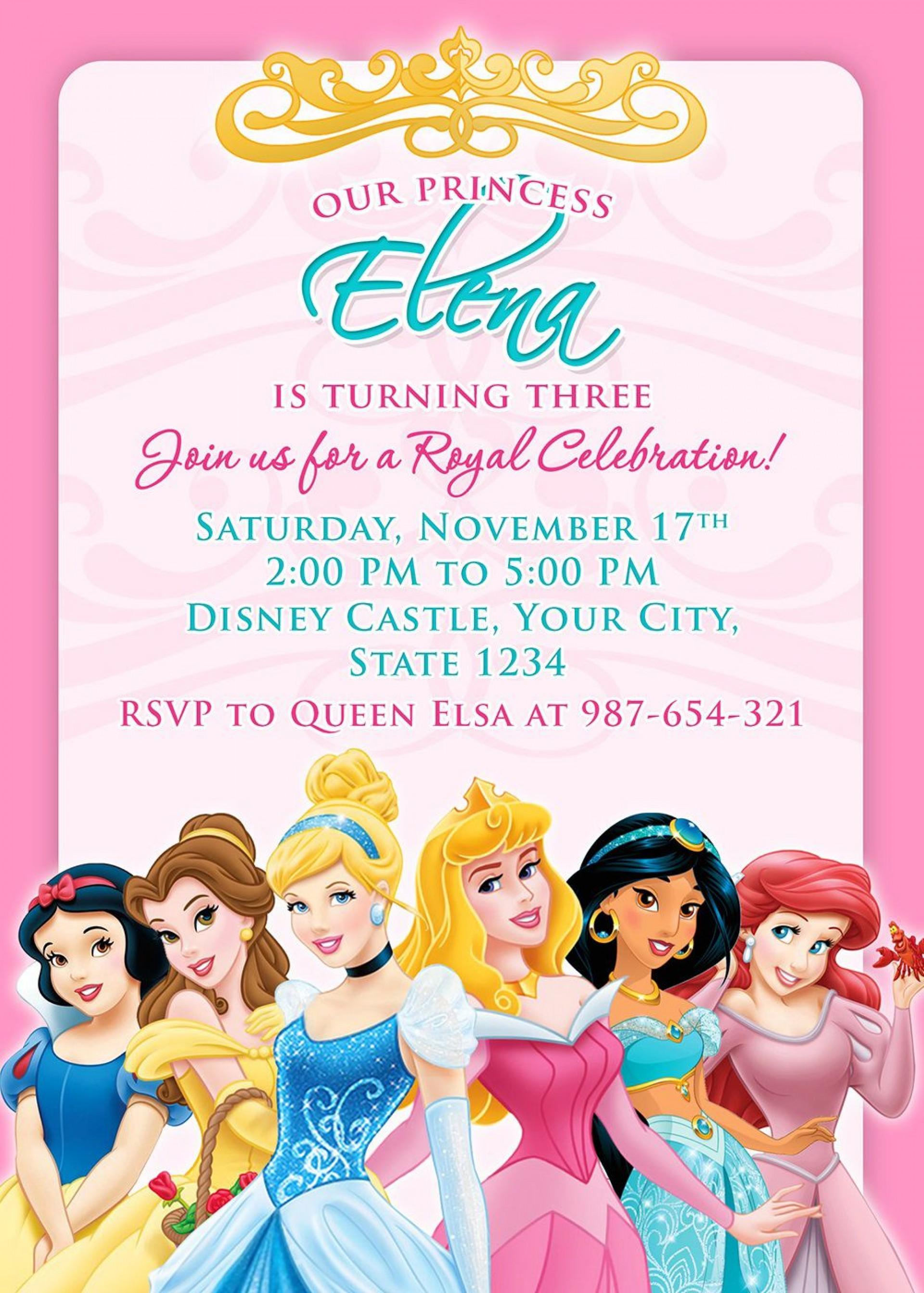 008 Singular Disney Princes Invitation Template Highest Quality  Downloadable Party Free Printable Birthday1920