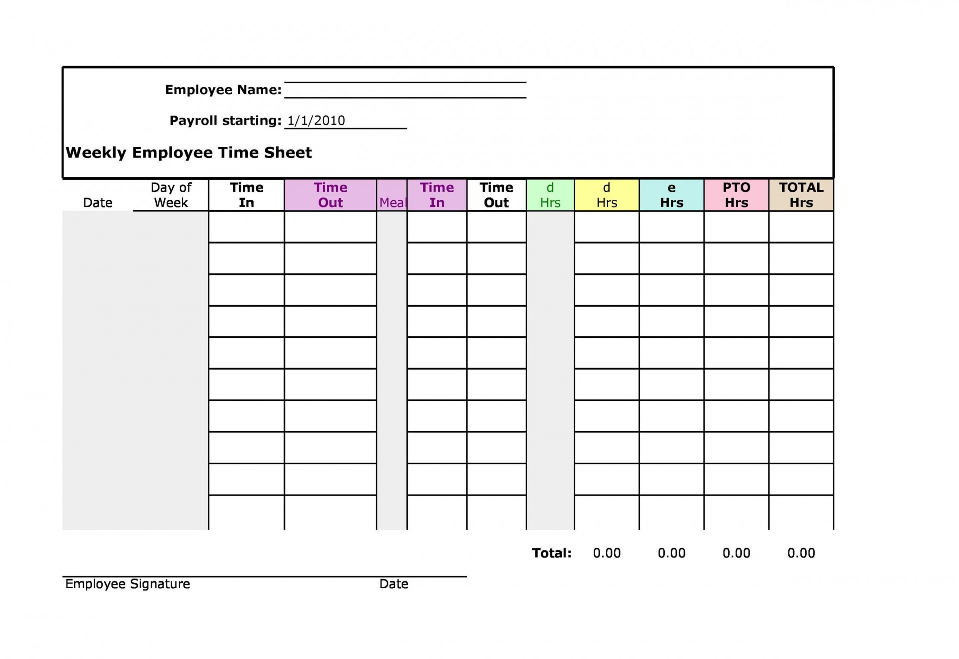 008 Singular Employee Monthly Time Card Template High Def 1920