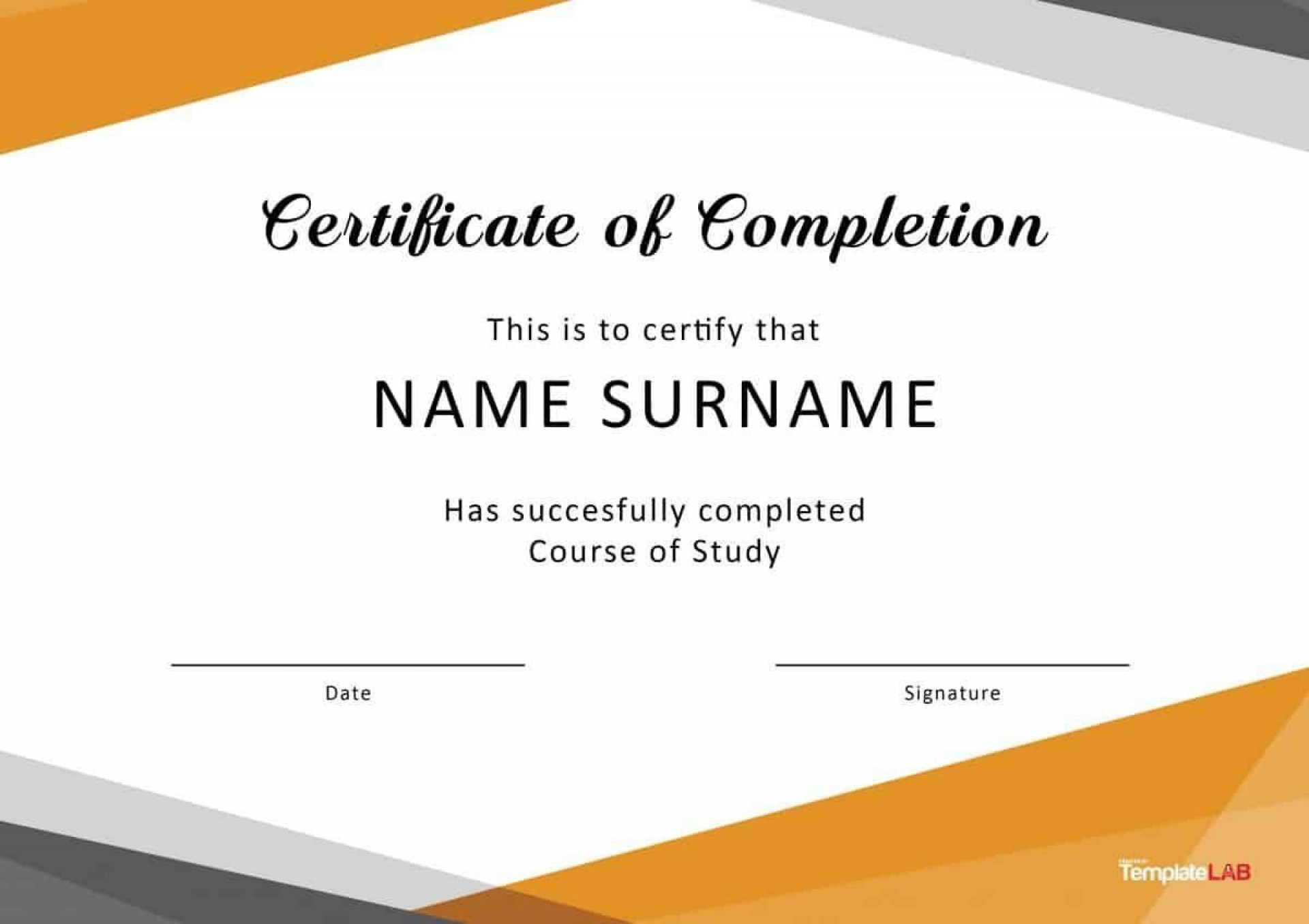008 Singular Free Certificate Of Completion Template Concept  Blank Printable Download Word Pdf1920