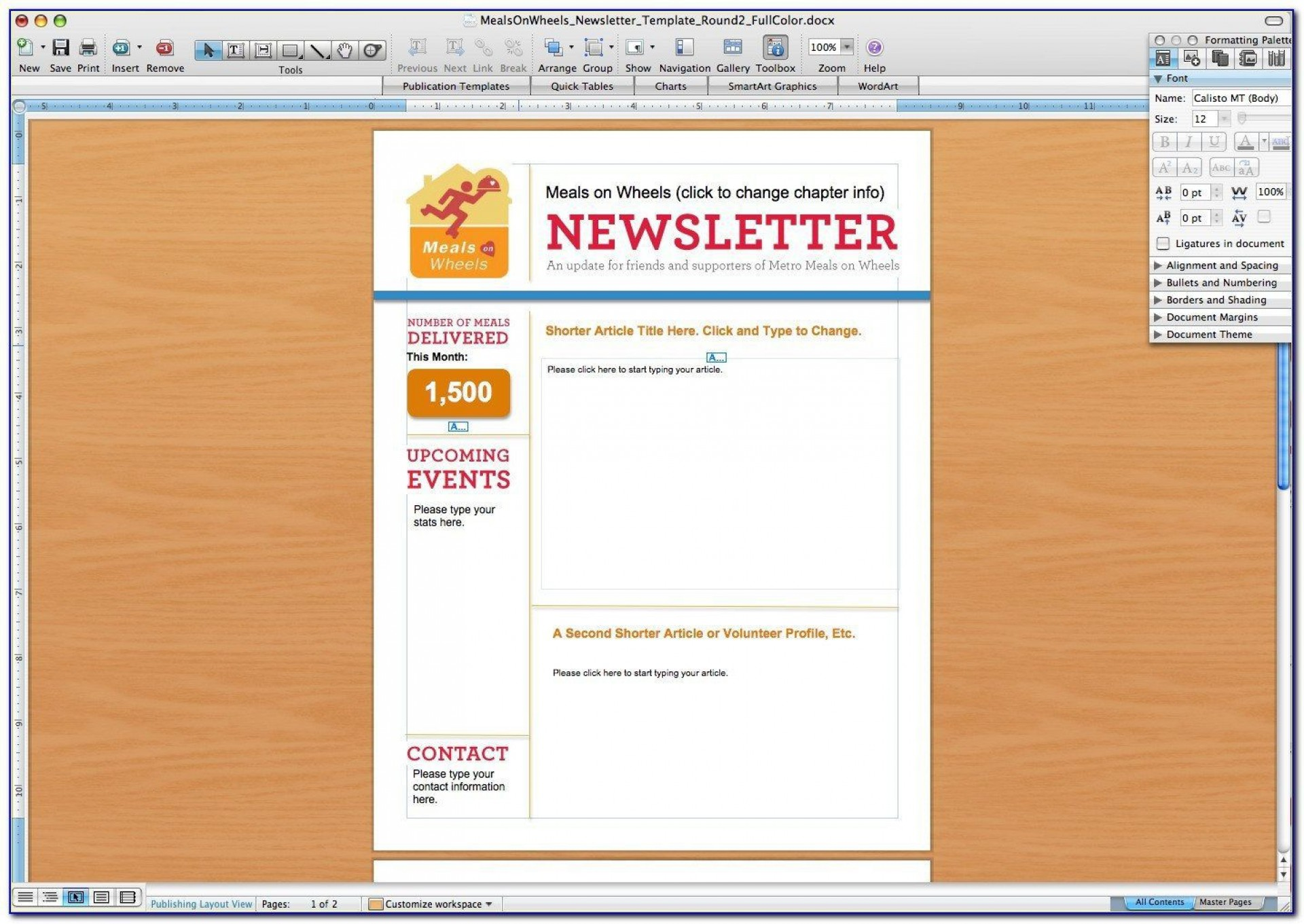 008 Singular Free Newsletter Template For Word 2010 Design 1920