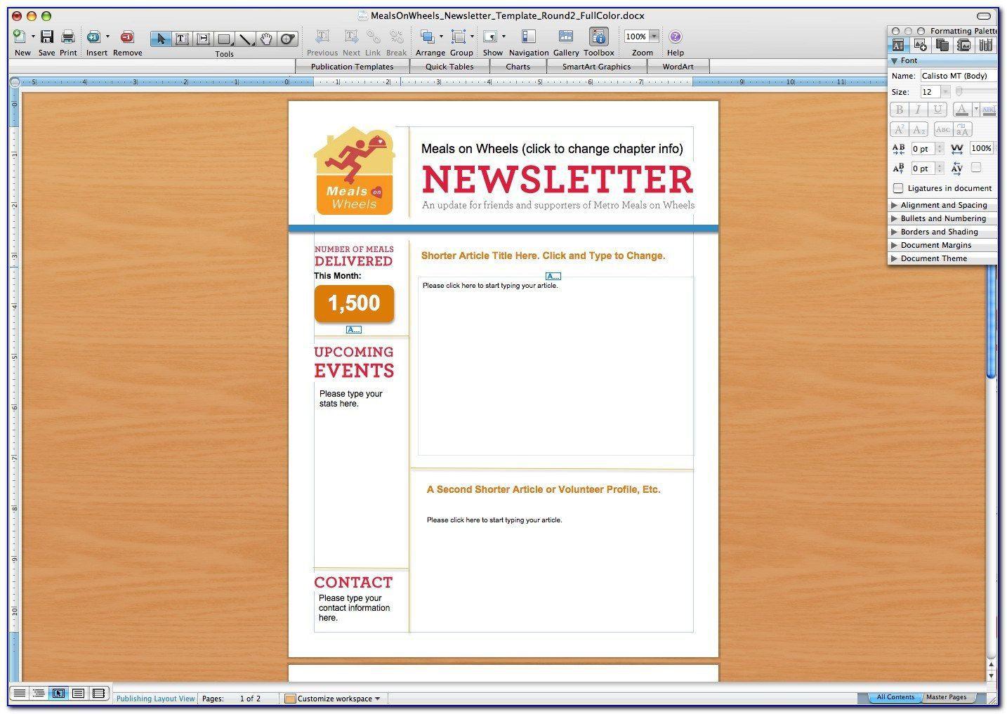 008 Singular Free Newsletter Template For Word 2010 Design Full