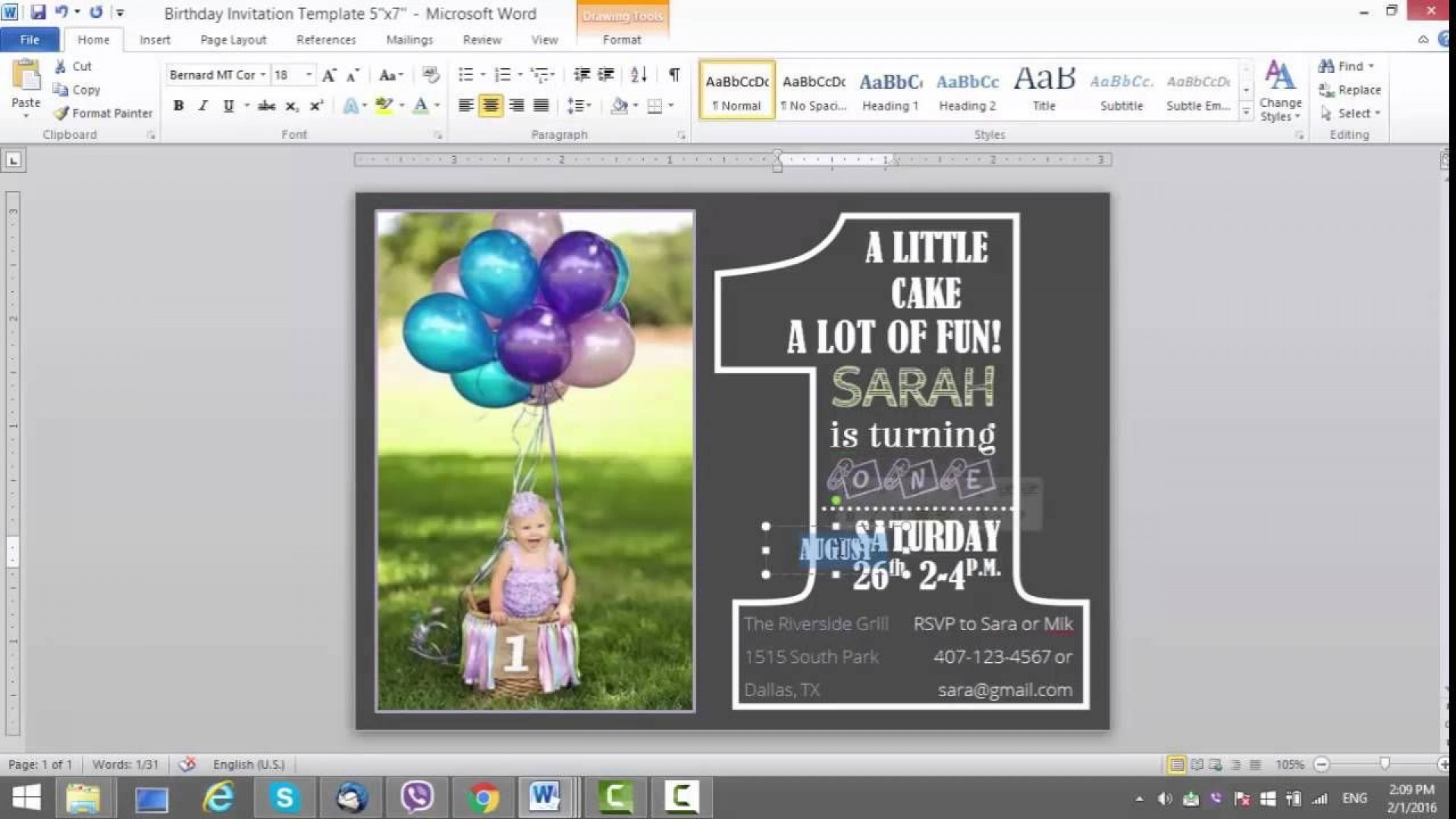 008 Singular Microsoft Word Birthday Card Invitation Template Design 1920