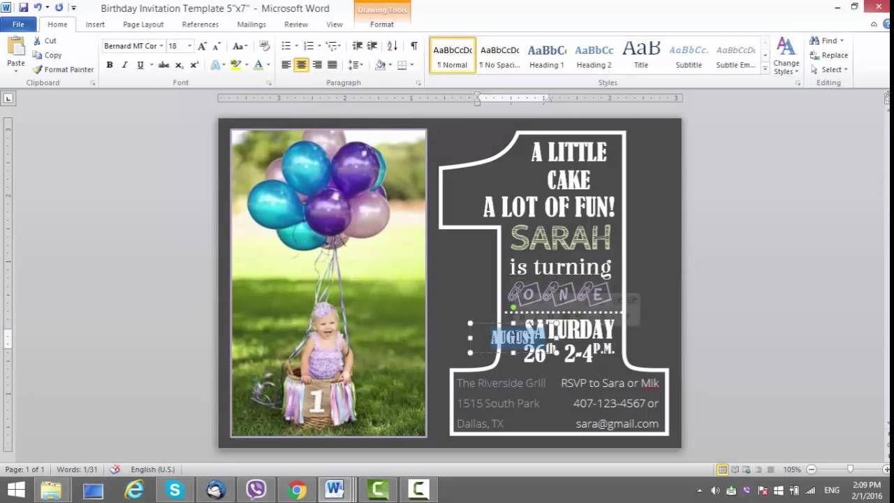 008 Singular Microsoft Word Birthday Card Invitation Template Design Full