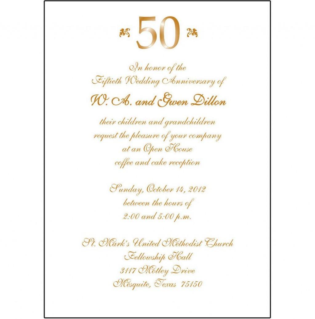 008 Staggering 50th Wedding Anniversary Invitation Card Sample High Definition  WordingLarge
