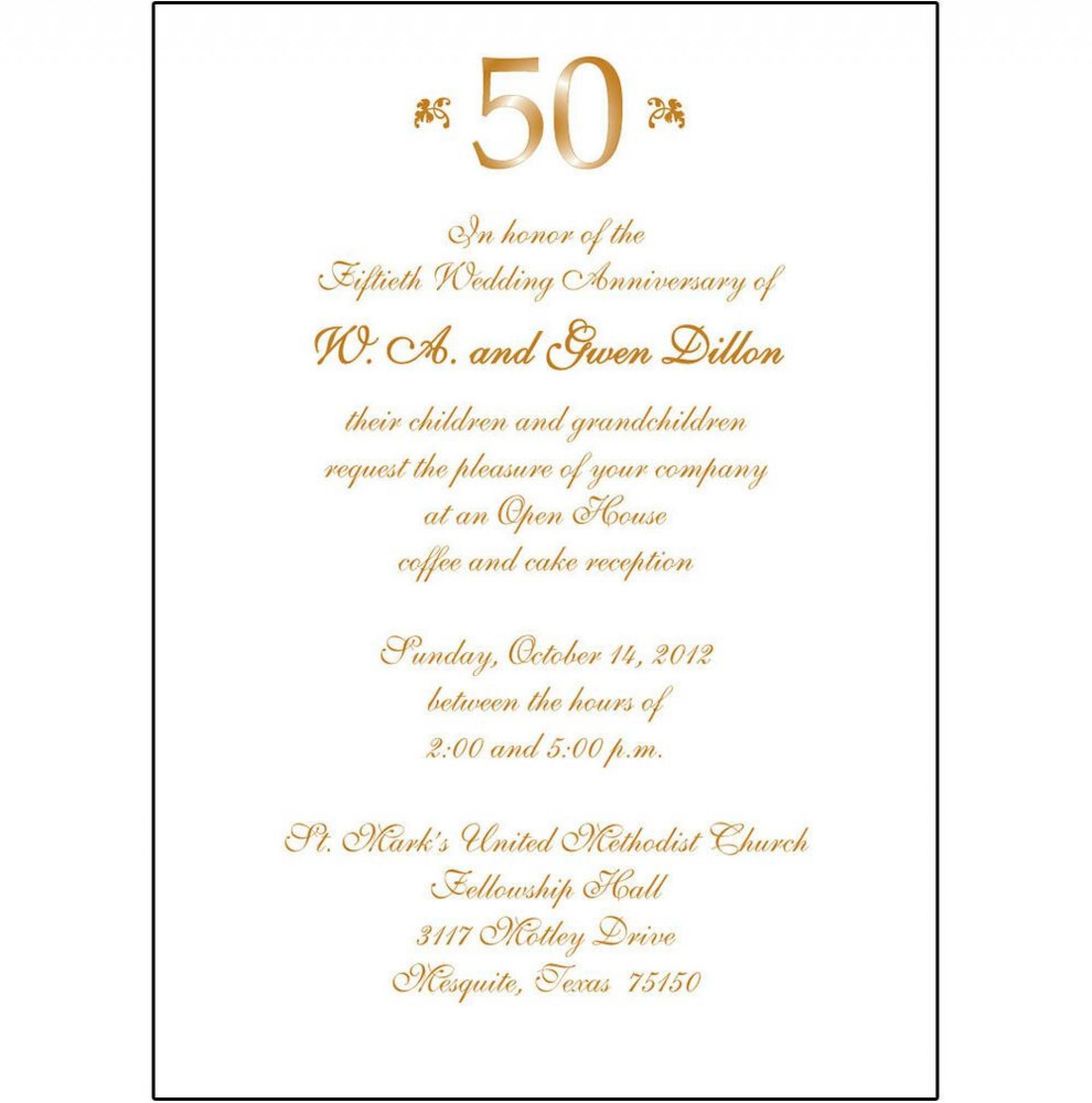 008 Staggering 50th Wedding Anniversary Invitation Card Sample High Definition  Wording1920