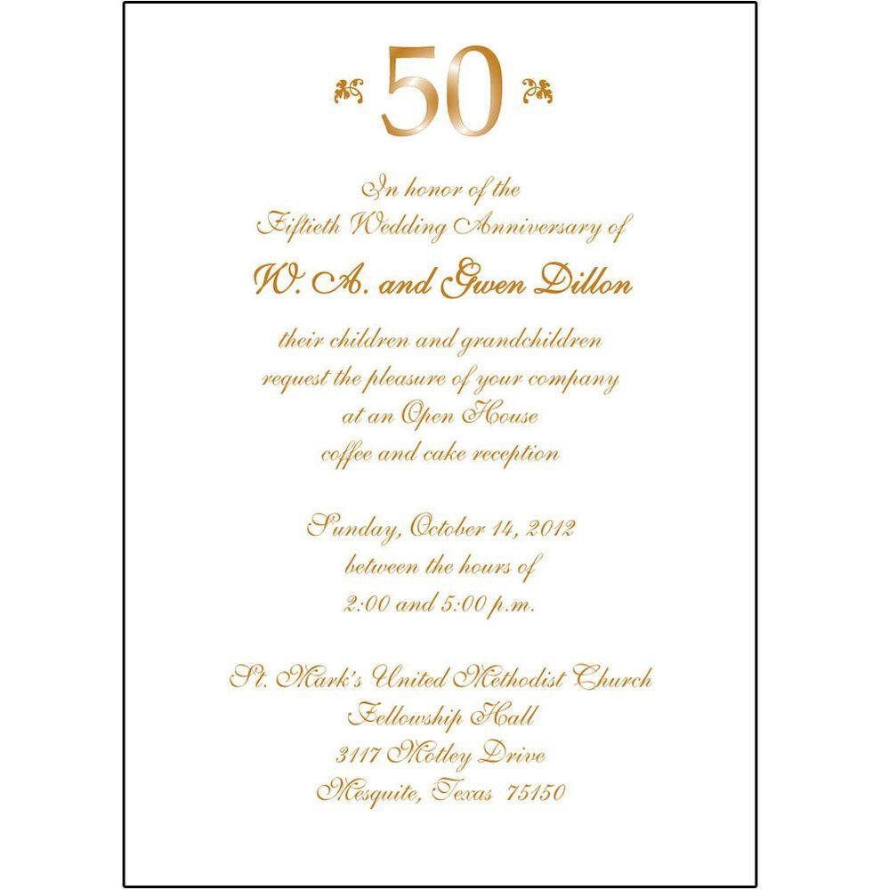 008 Staggering 50th Wedding Anniversary Invitation Card Sample High Definition  WordingFull