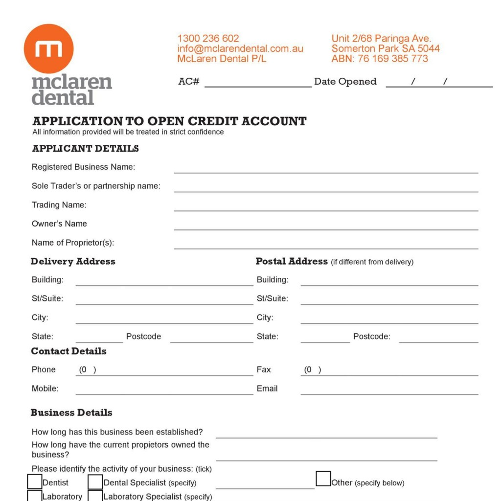 008 Staggering Busines Credit Application Template Pdf Design  FormLarge