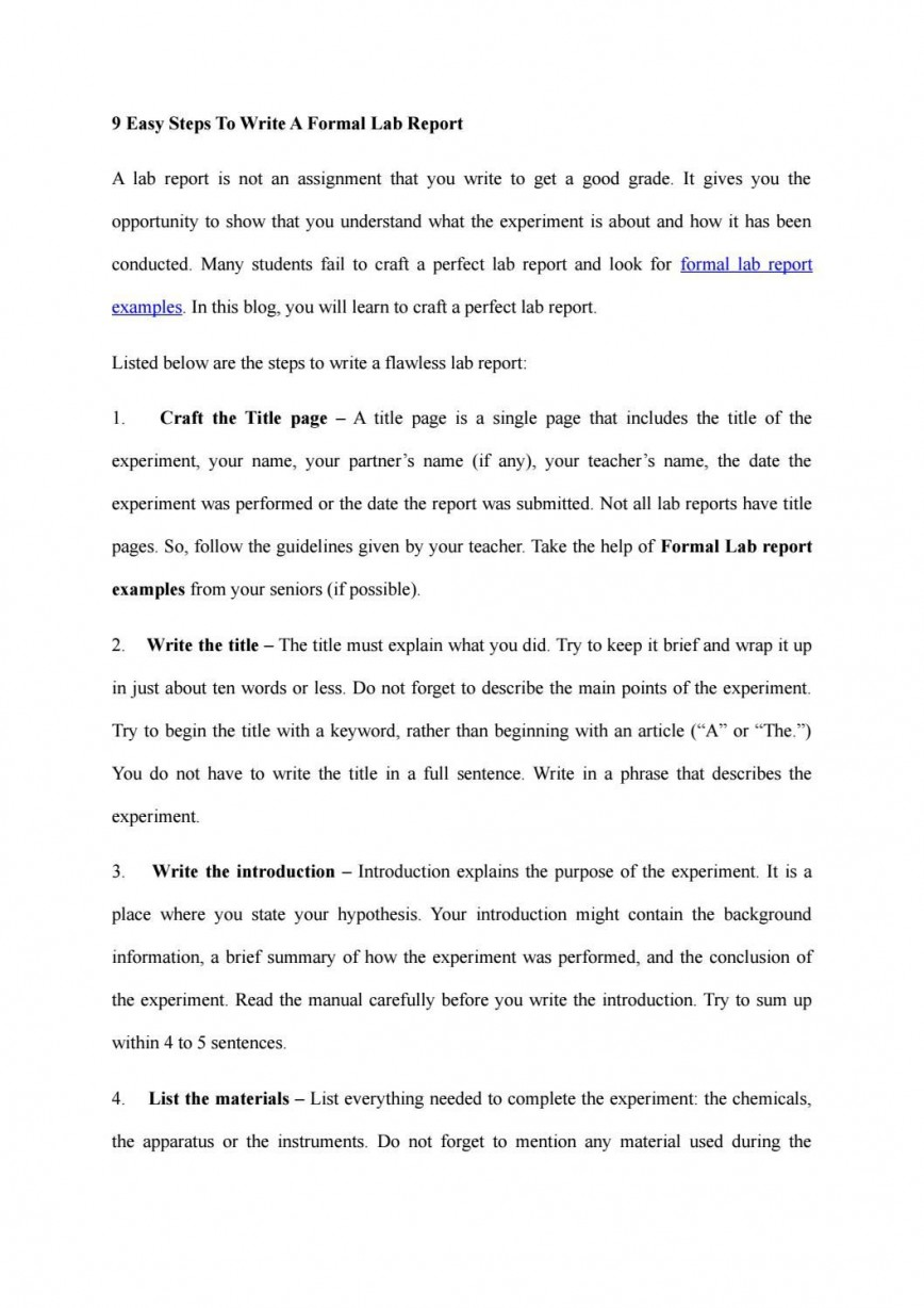 008 Staggering Formal Lab Report Template Concept  Example Physic Microbiology