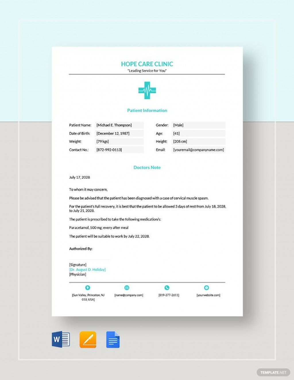 008 Staggering Free Doctor Note Template For Work High Definition  Printable Editable Fake PdfLarge