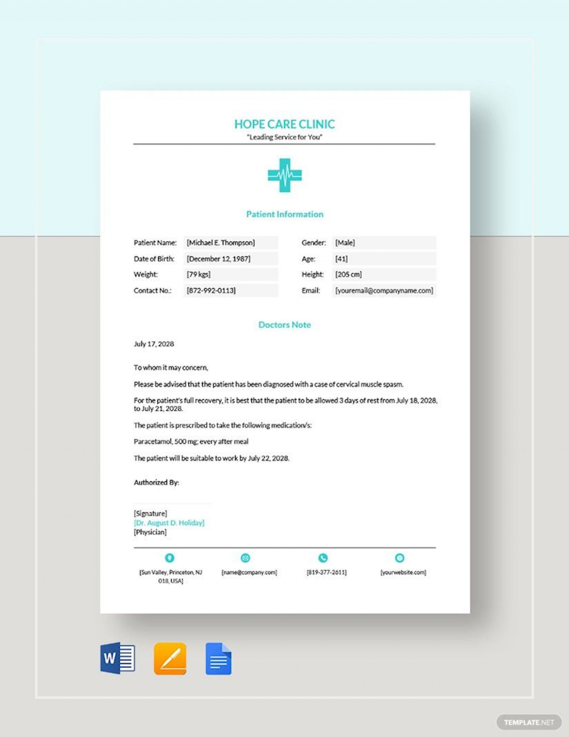 008 Staggering Free Doctor Note Template For Work High Definition  Printable Editable Fake Pdf1920