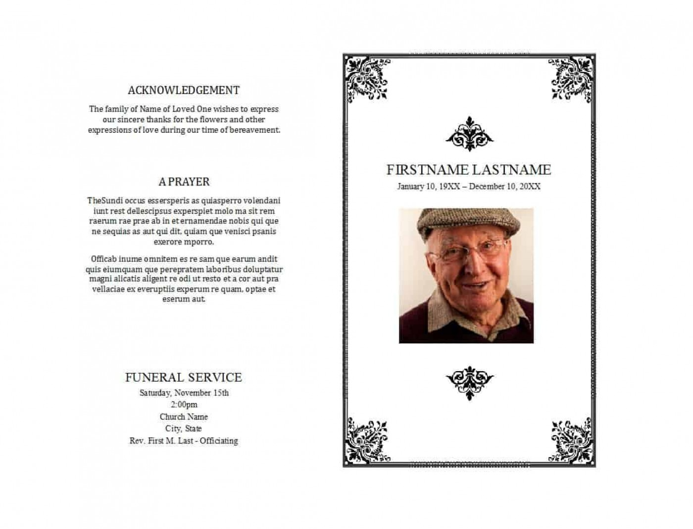 008 Staggering Free Editable Celebration Of Life Program Template High Definition 1400
