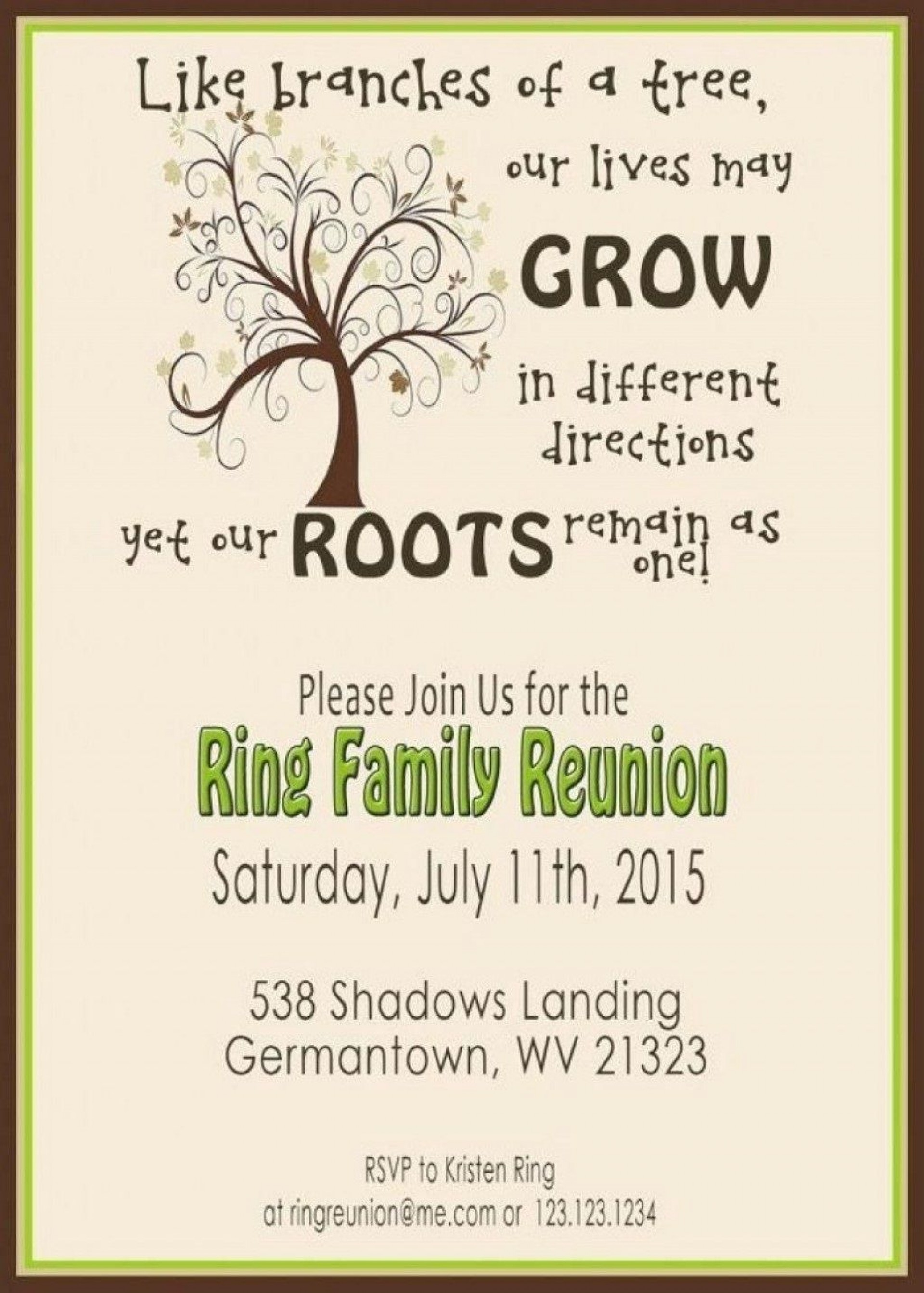 008 Staggering Free Family Reunion Flyer Template Word Concept 1920