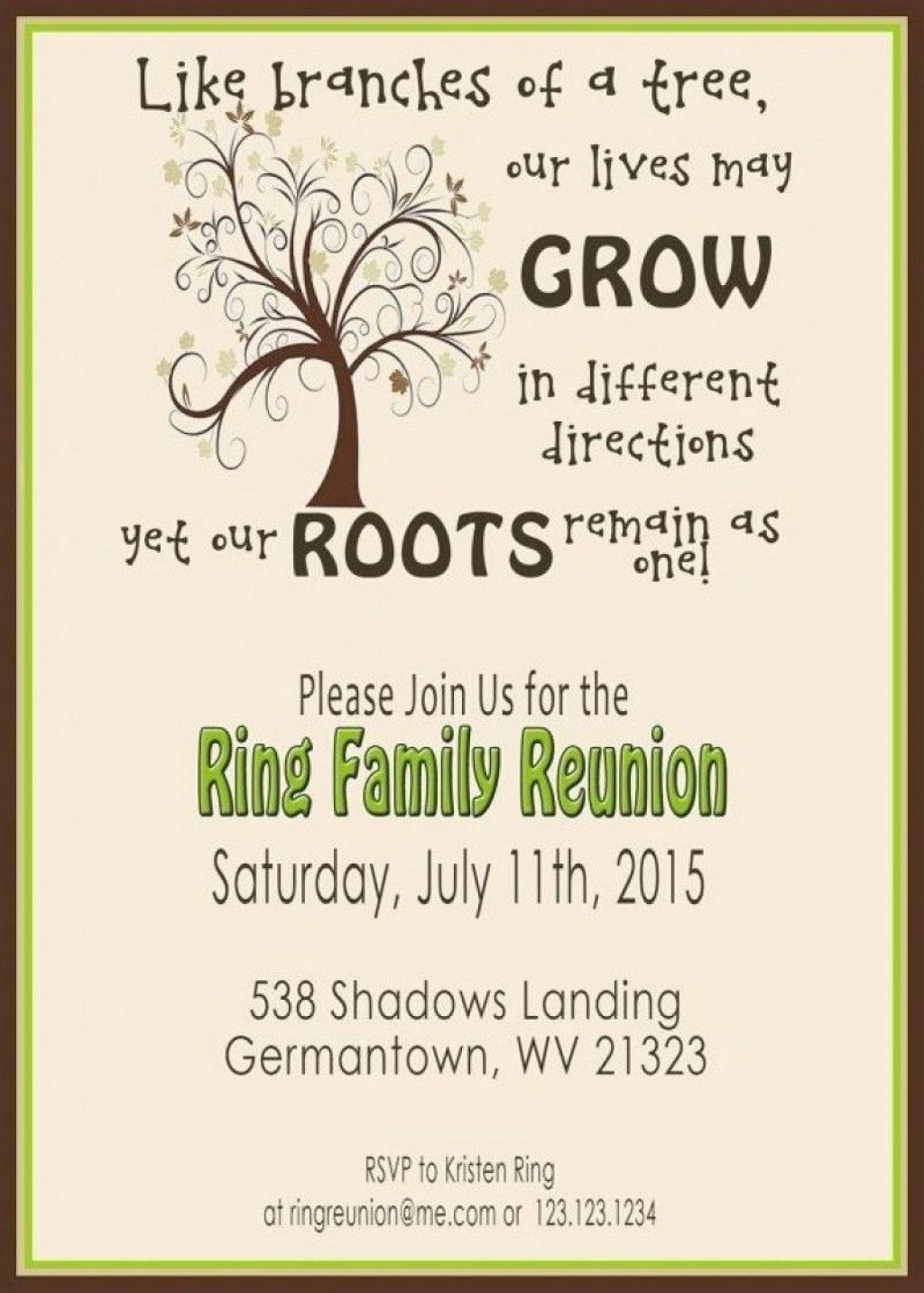 008 Staggering Free Family Reunion Flyer Template Word Concept Full