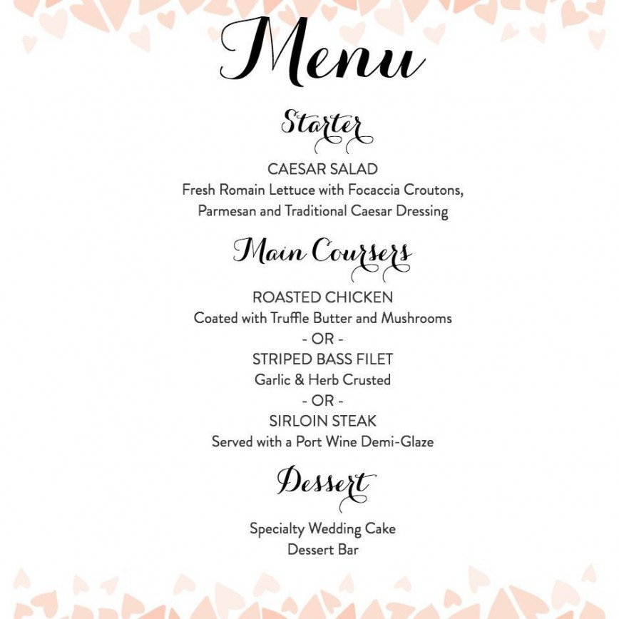 008 Staggering Free Wedding Menu Template To Print Picture  Printable Card