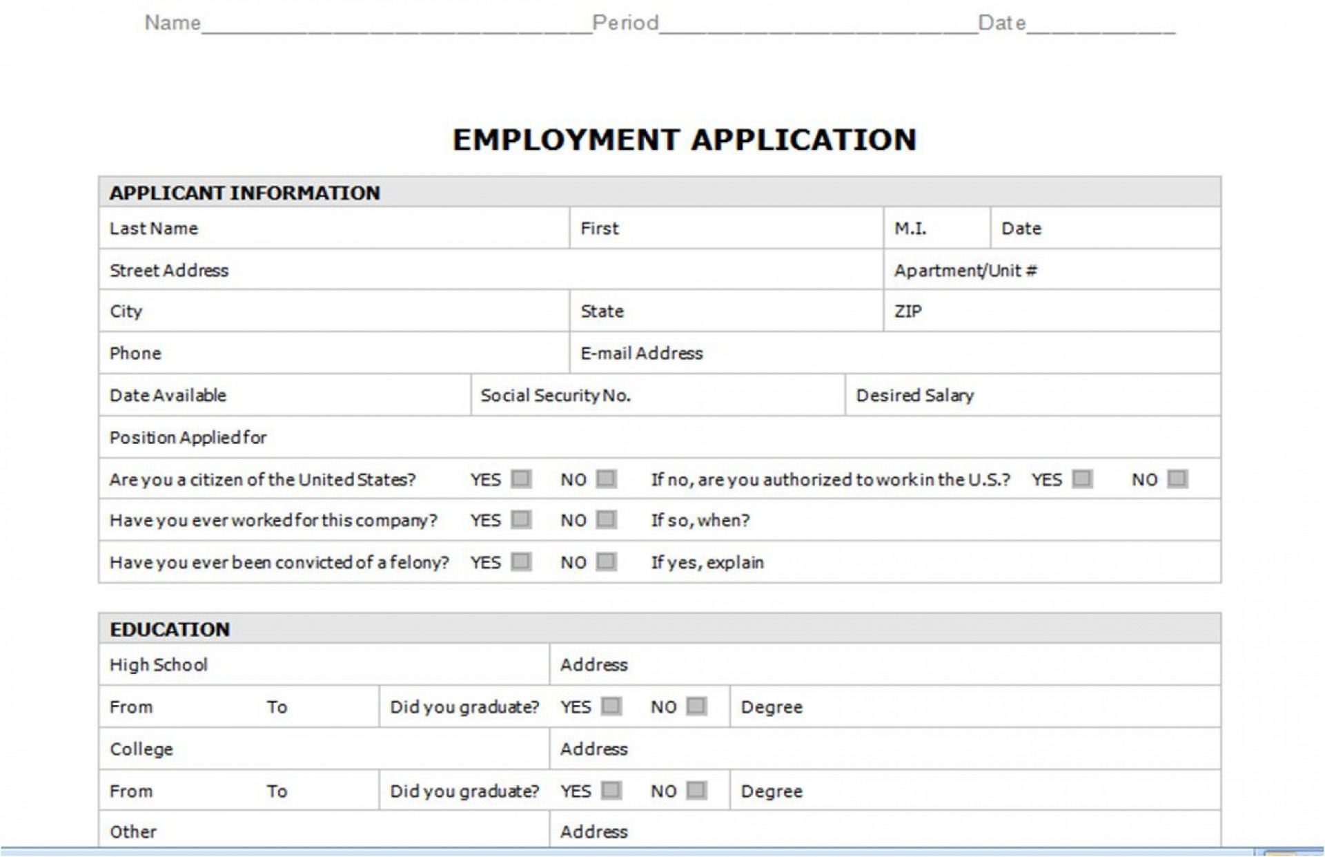 008 Staggering Generic Job Application Template Word Design 1920