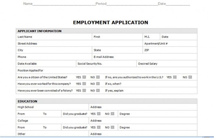 008 Staggering Generic Job Application Template Word Design 728
