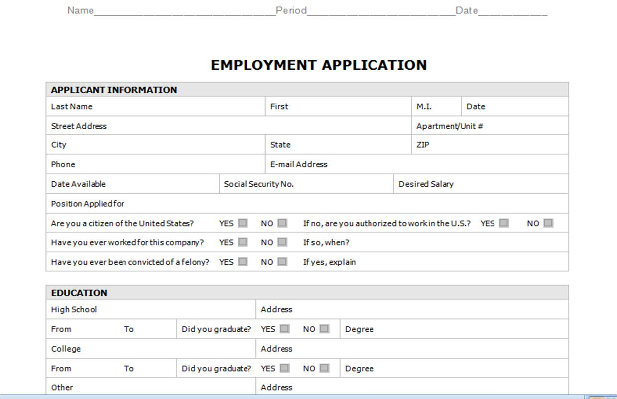 008 Staggering Generic Job Application Template Word Design Full