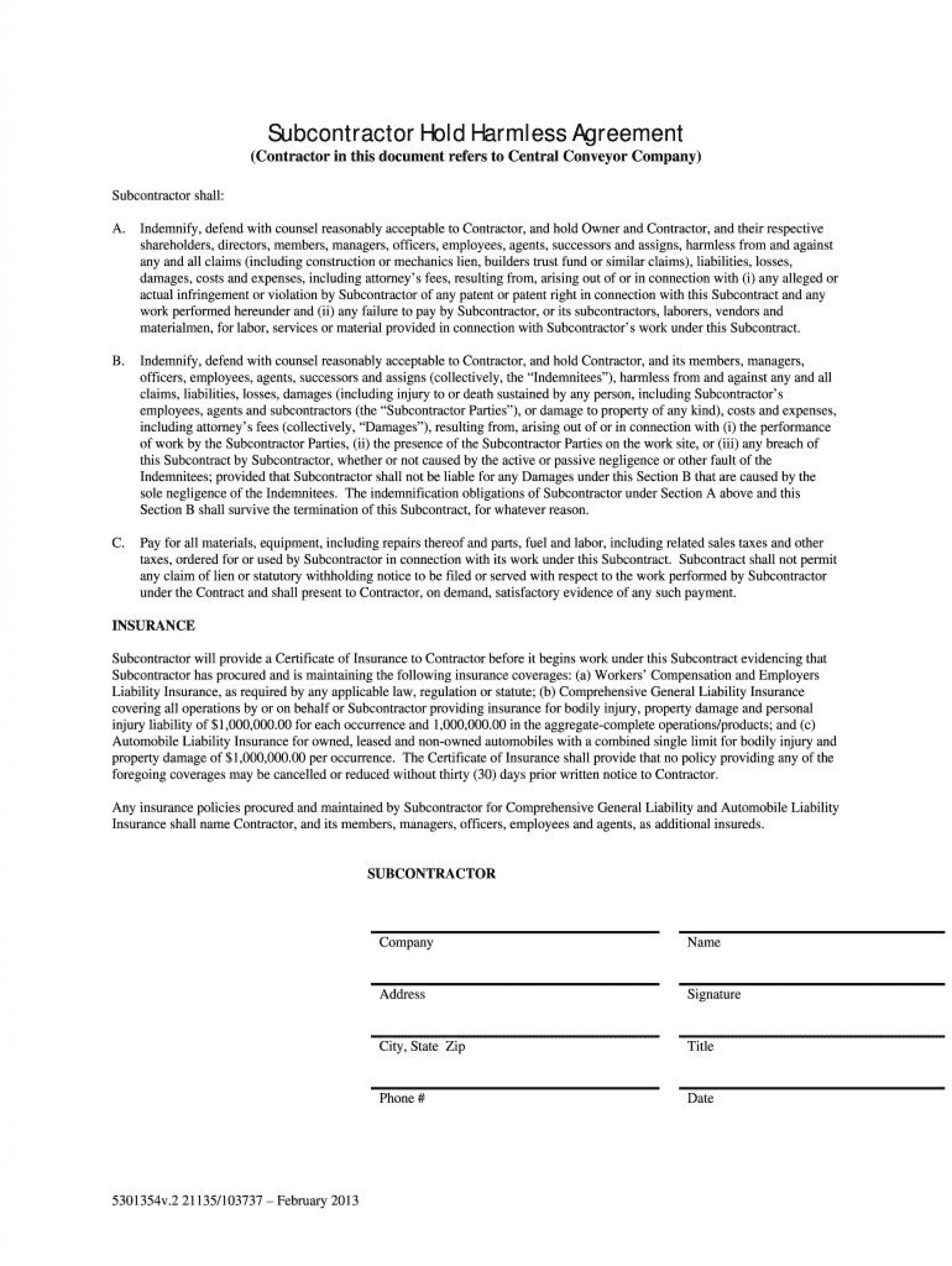 008 Staggering Hold Harmles Agreement Template Design  Canada Word Free Download1920