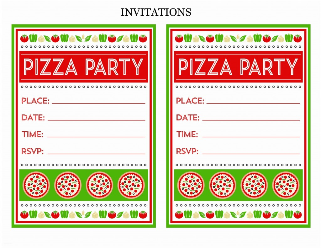 008 Staggering Pizza Party Invitation Template Free Picture  PrintableLarge