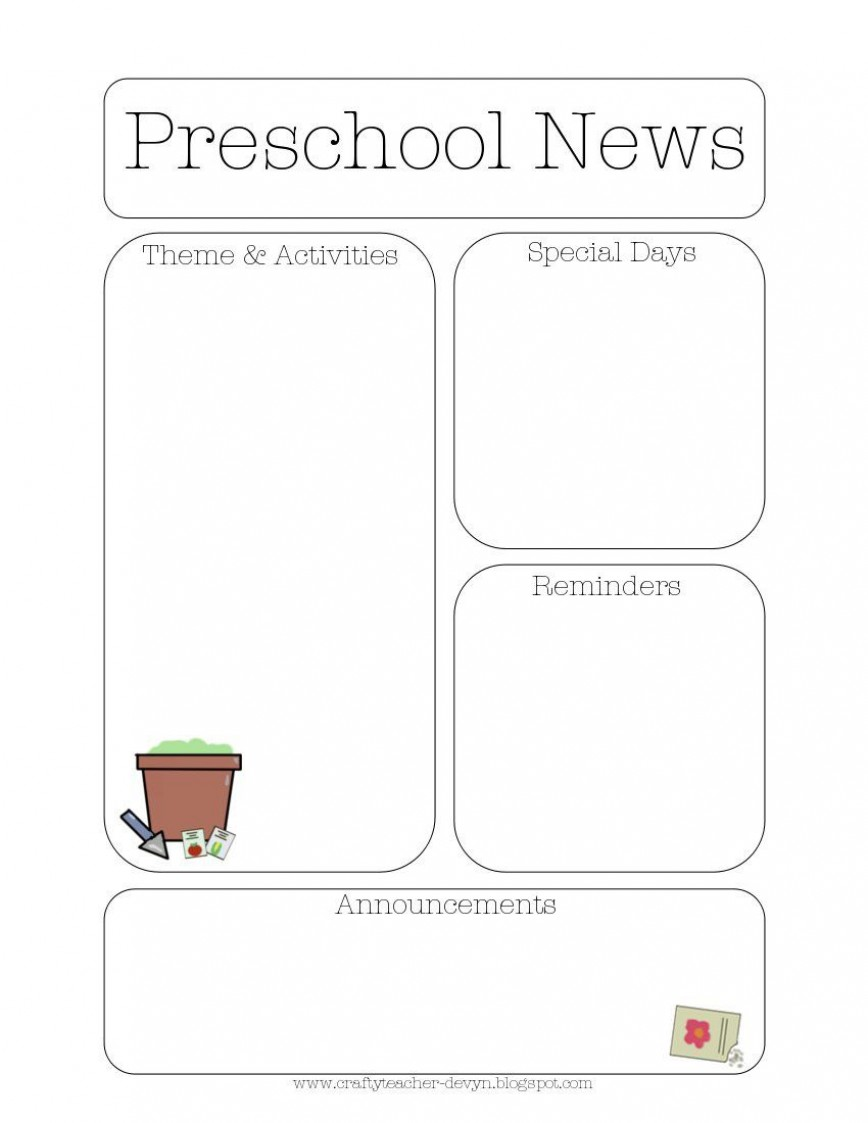 008 Staggering Pre K Newsletter Template Picture  Templates Free Printable Classroom Monthly