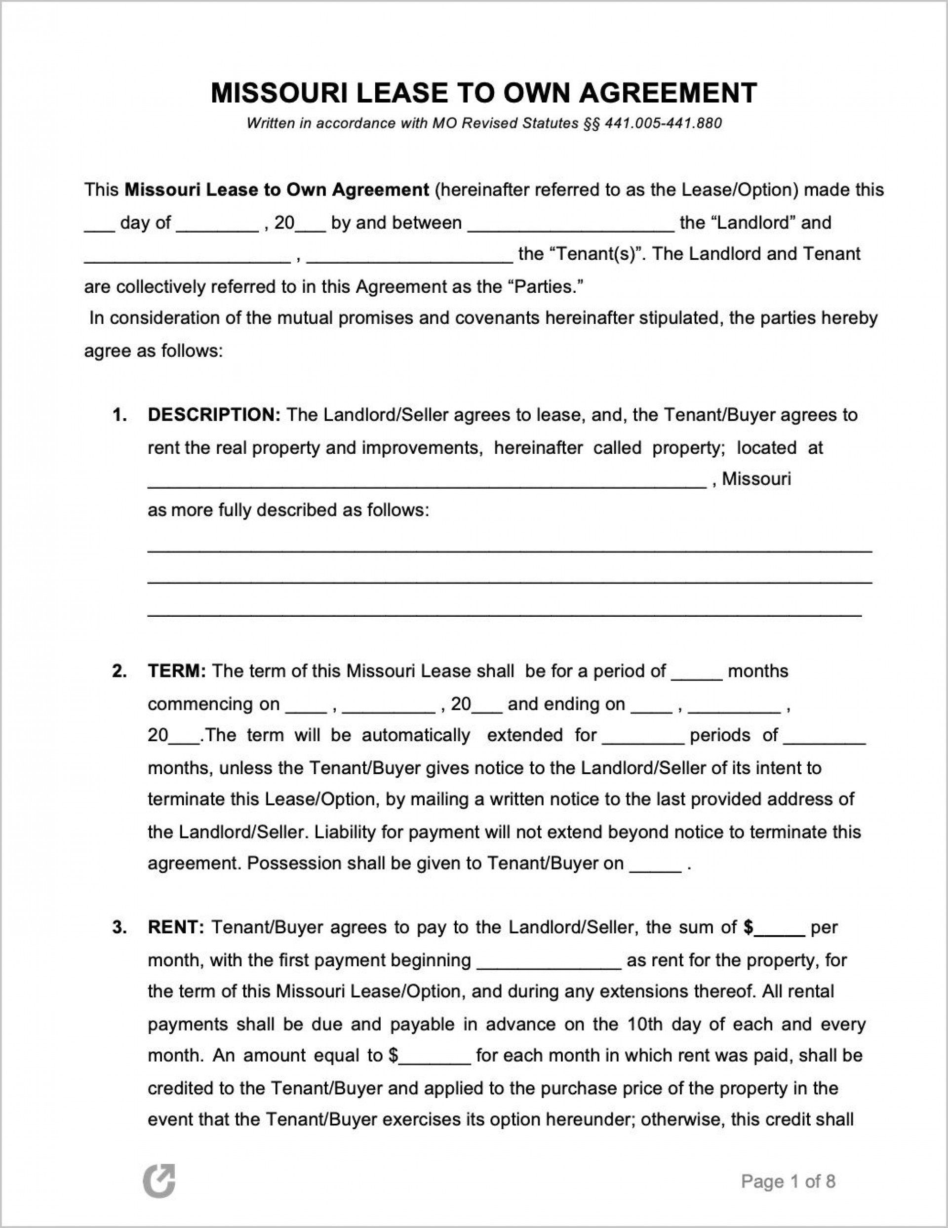 008 Staggering Rent To Own Contract Template Pennsylvania High Definition Full