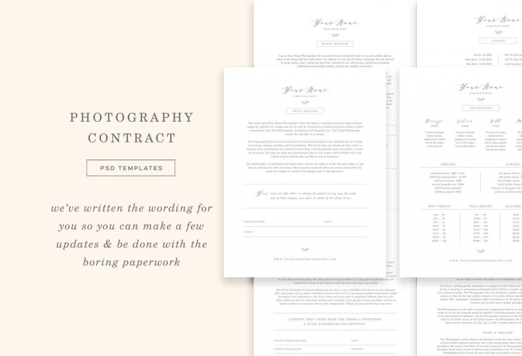 008 Staggering Wedding Photographer Contract Template Free Photo  Simple Photography WordLarge