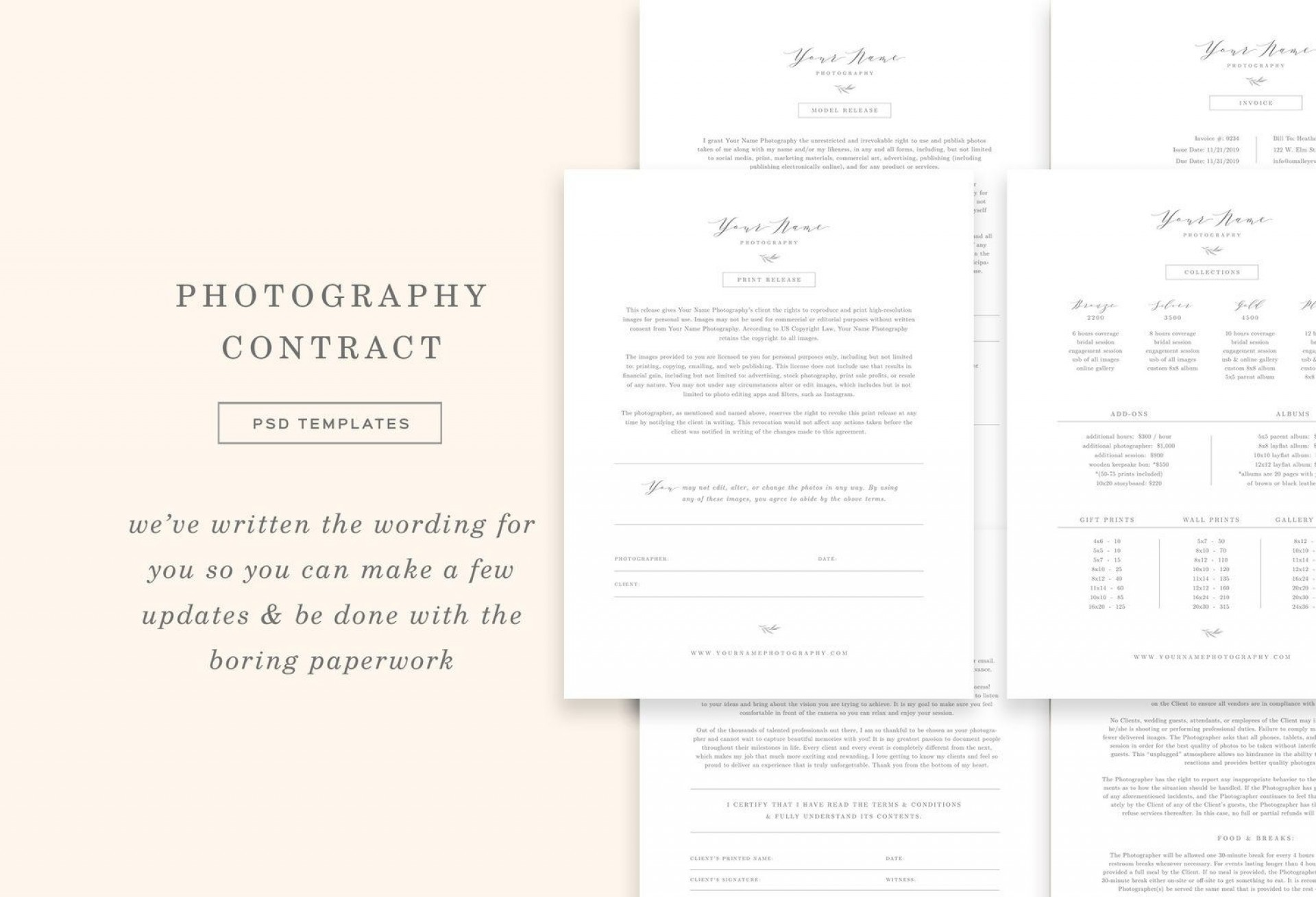 008 Staggering Wedding Photographer Contract Template Free Photo  Simple Photography Word1920