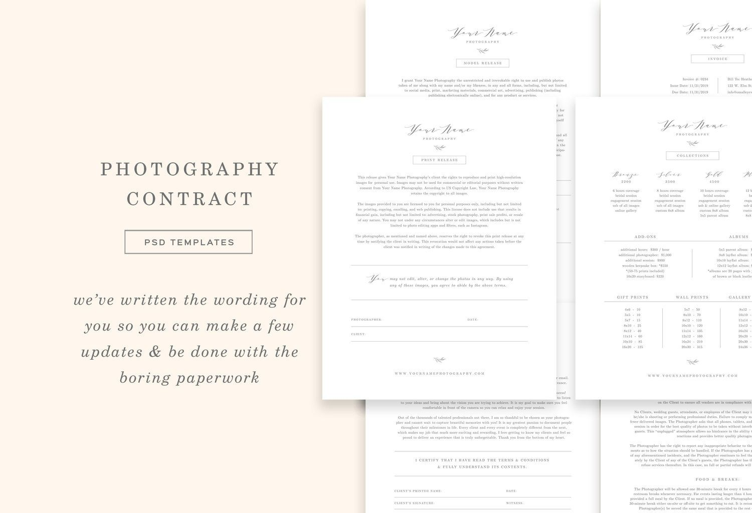 008 Staggering Wedding Photographer Contract Template Free Photo  Simple Photography WordFull
