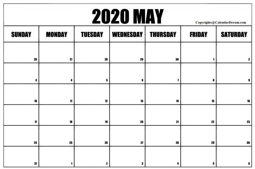 008 Stirring Free 2020 Calendar Template High Definition  Templates Monthly Excel Download Printable MayLarge