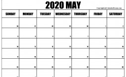 008 Stirring Free 2020 Calendar Template High Definition  Templates Monthly Excel Download Printable May