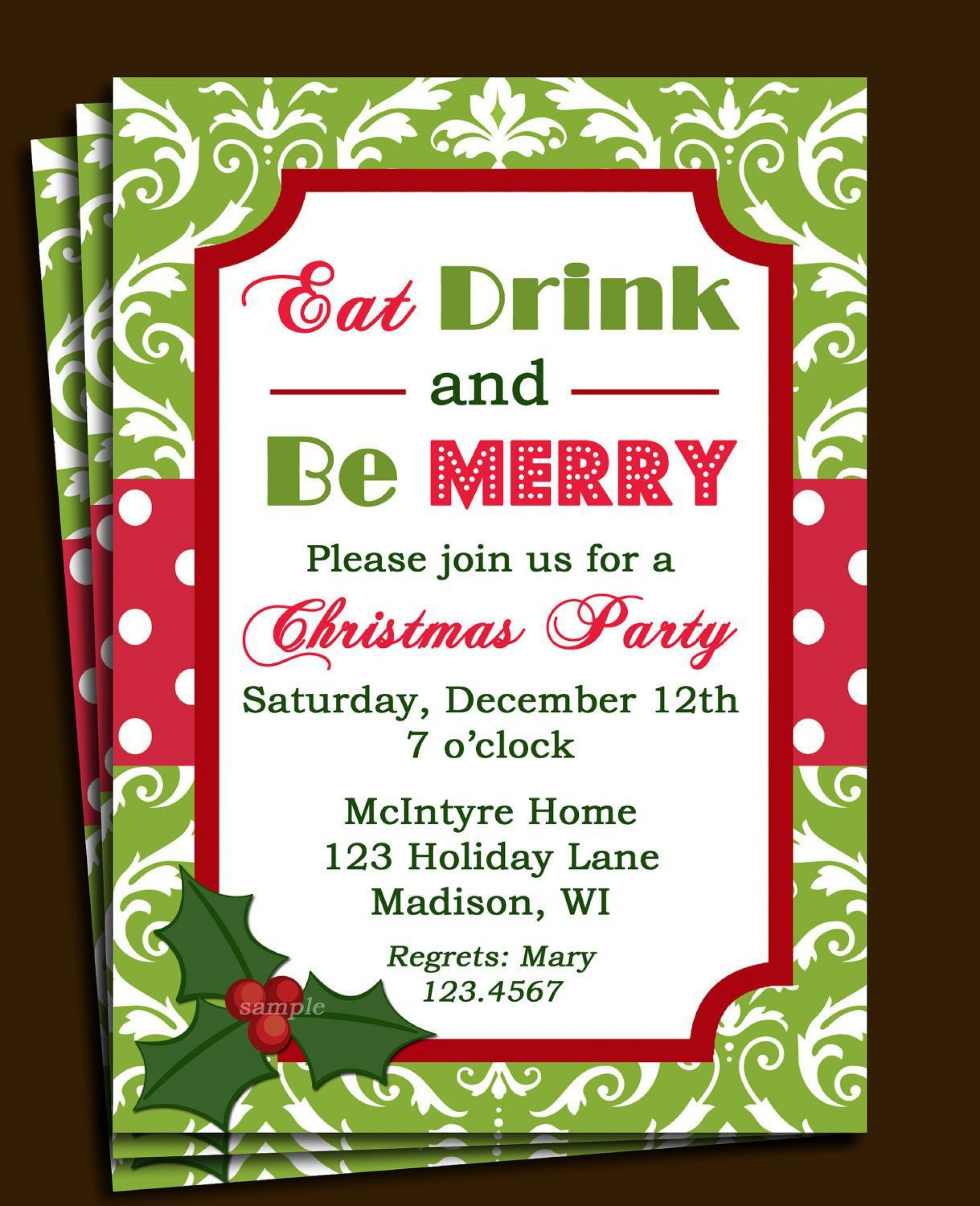 008 Stirring Free Christma Invitation Template Word High Definition  Holiday Party Editable1920
