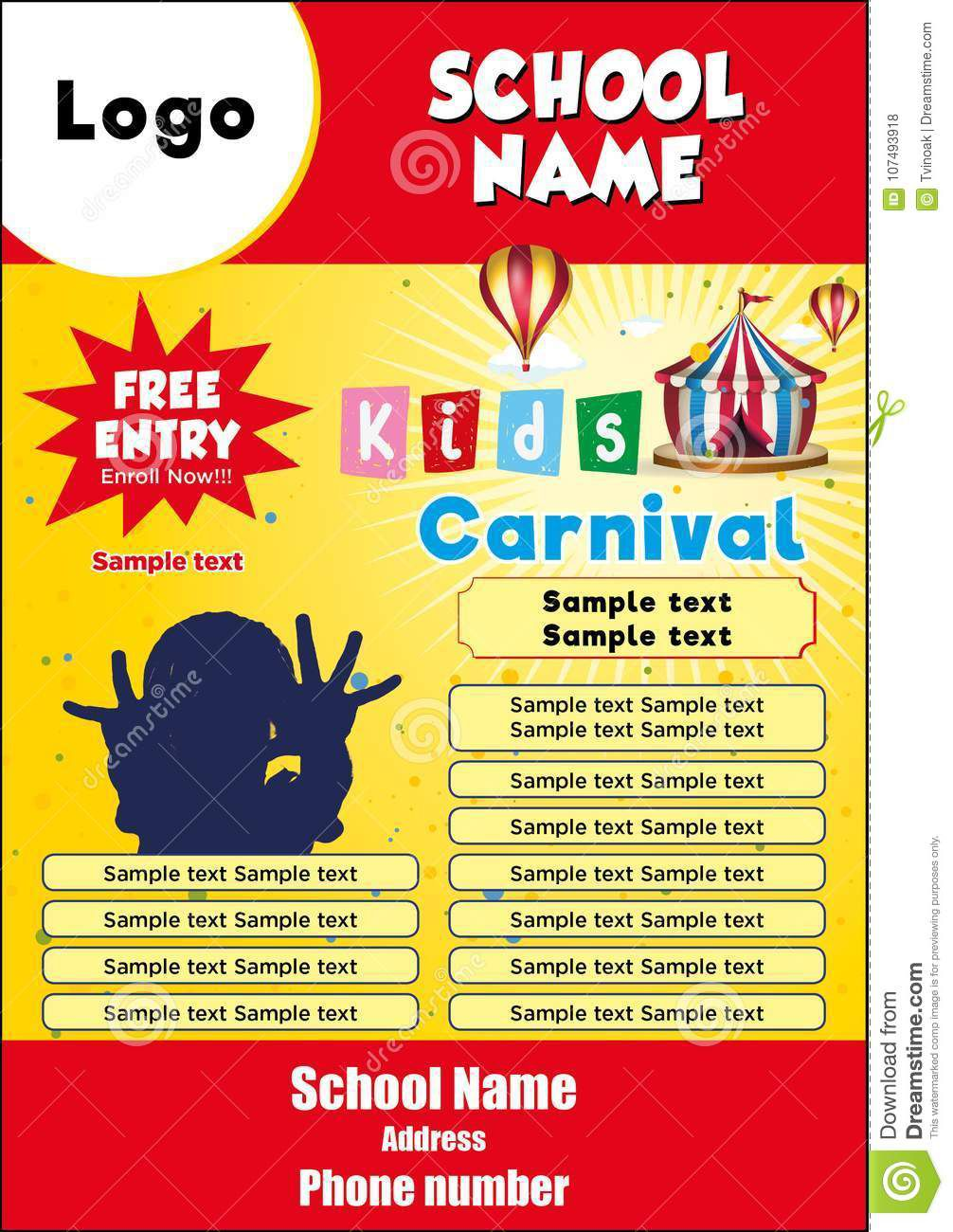 008 Stirring Free School Carnival Flyer Template Sample  Templates DownloadFull