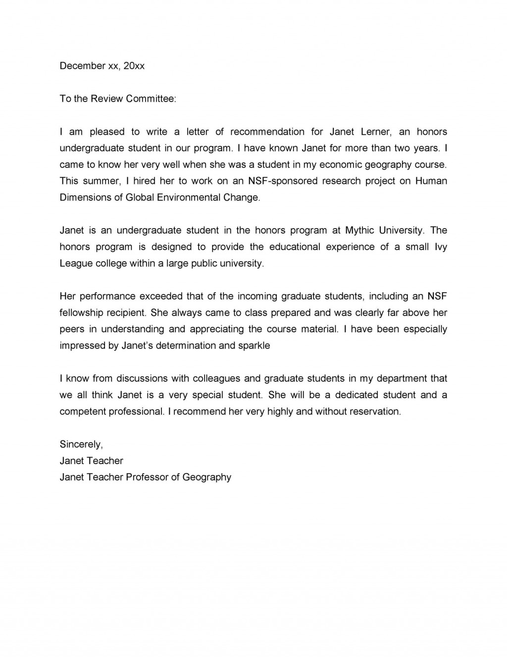 008 Stirring Letter Of Recommendation Template For College Student Image  Sample From ProfessorLarge
