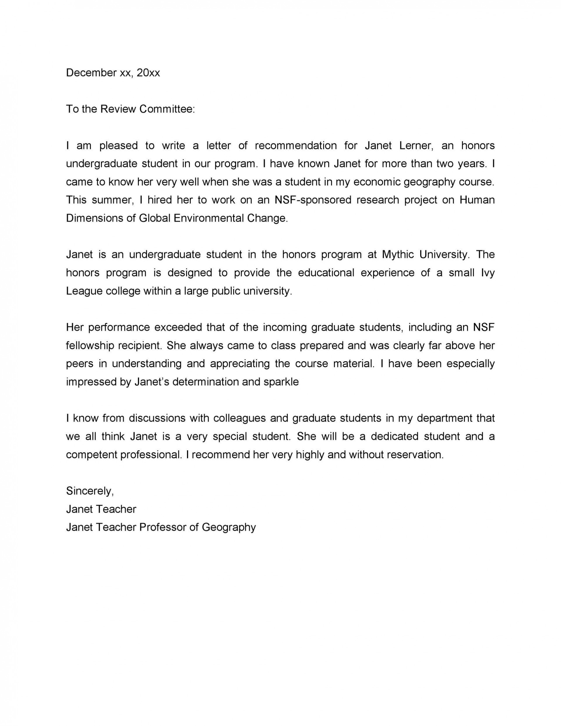 008 Stirring Letter Of Recommendation Template For College Student Image  Sample From Professor1920
